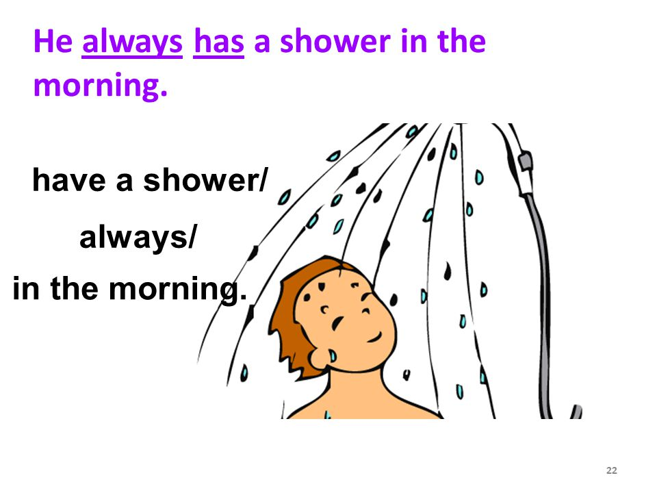 He always has a shower in the morning. have a shower/ 22 always/ in the morning.
