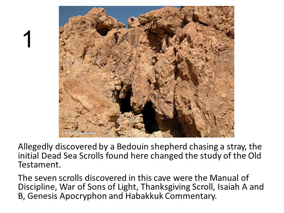 1 Allegedly discovered by a Bedouin shepherd chasing a stray, the initial Dead Sea Scrolls found here changed the study of the Old Testament.