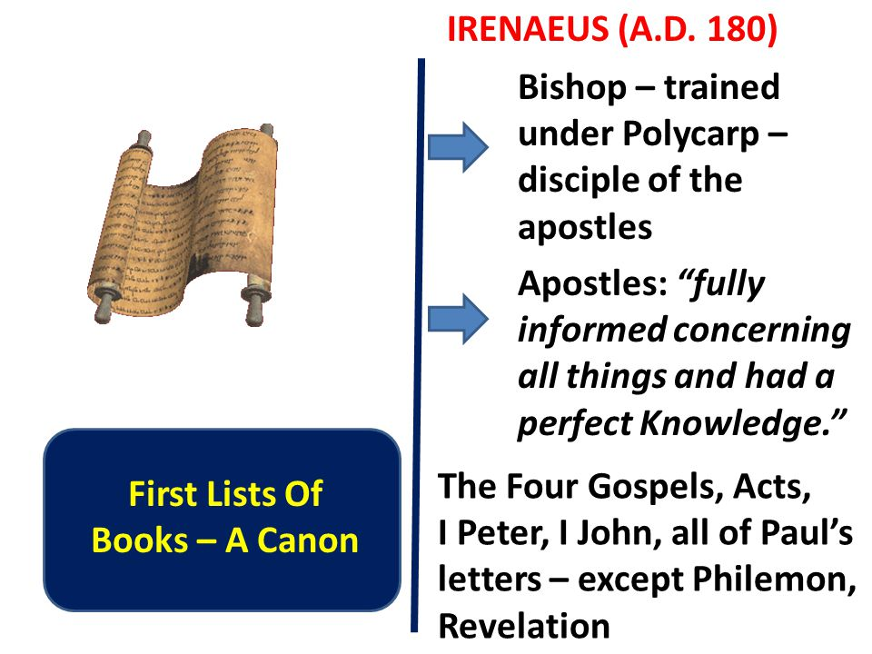 First Lists Of Books – A Canon IRENAEUS (A.D.