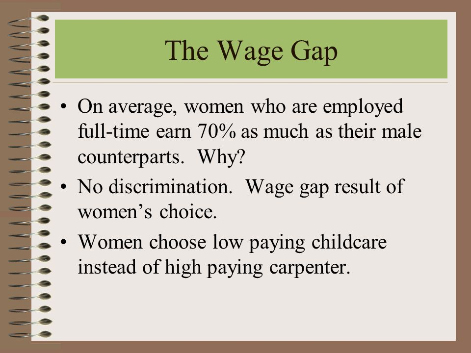 The Wage Gap On average, women who are employed full-time earn 70% as much as their male counterparts.