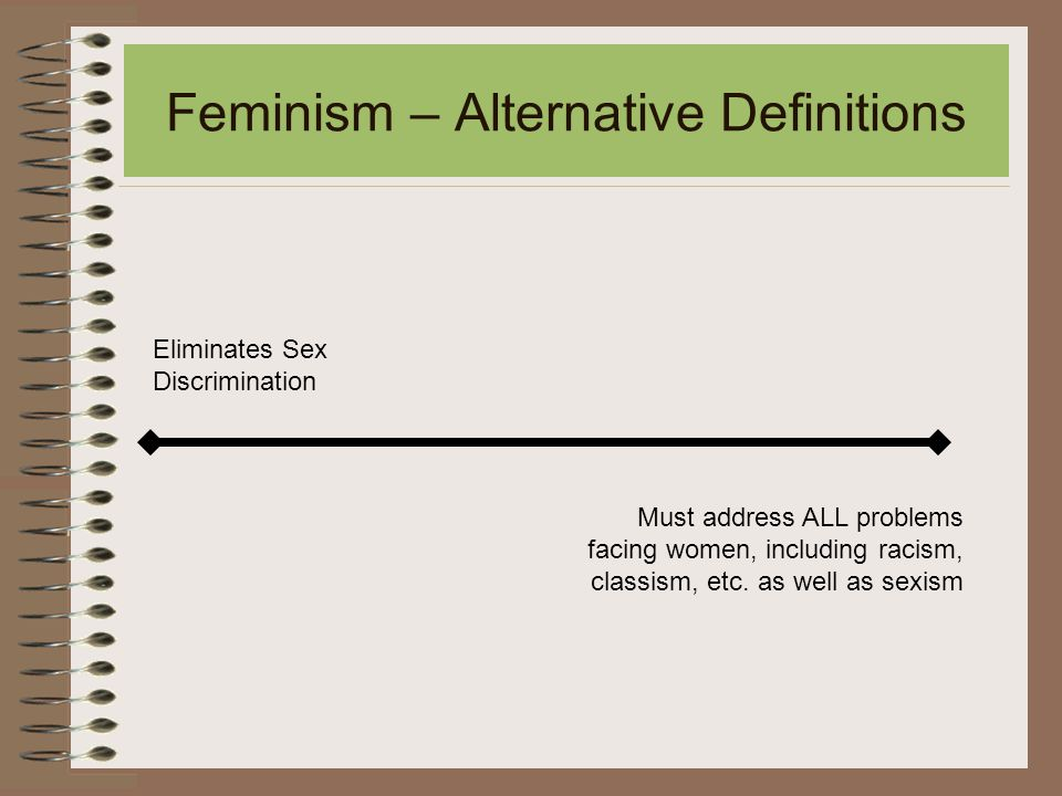 Feminism – Alternative Definitions Eliminates Sex Discrimination Must address ALL problems facing women, including racism, classism, etc.