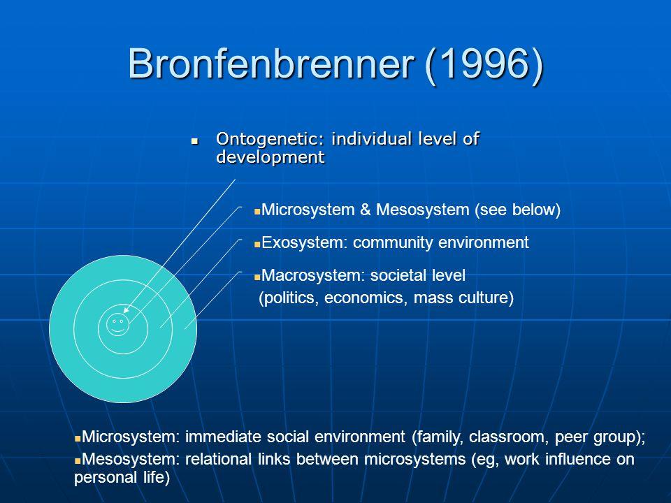 bronfenbrenners analysis Urie bronfenbrenner ( 29 april 1917 in moskau † 25 september 2005 in ithaca, ny) war ein amerikanischer entwicklungspsychologe und autor bronfenbrenners familie emigrierte 1923 in die vereinigten staaten.