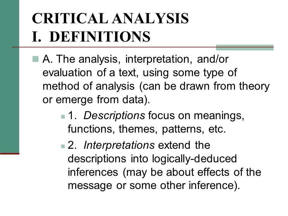 critical analysis i too