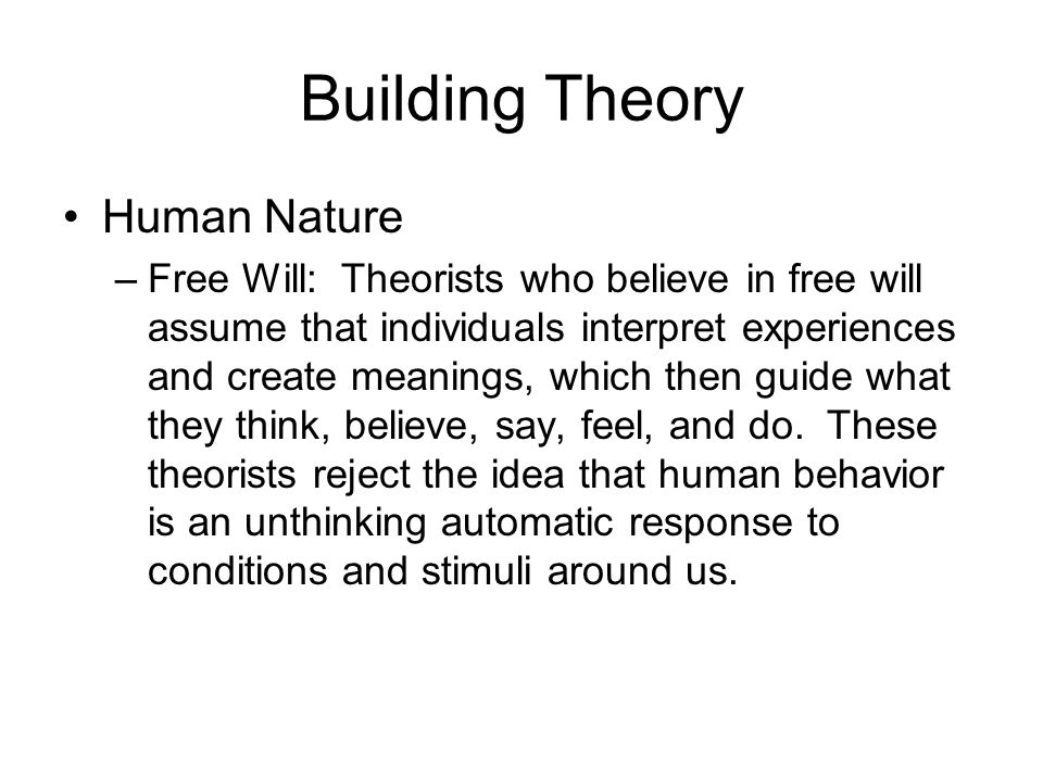 free will a paper on determinism and in determinism theories Free will and determinism philosophy essay because it claims that soft determinism and free will are determinism is a theory that each person's.