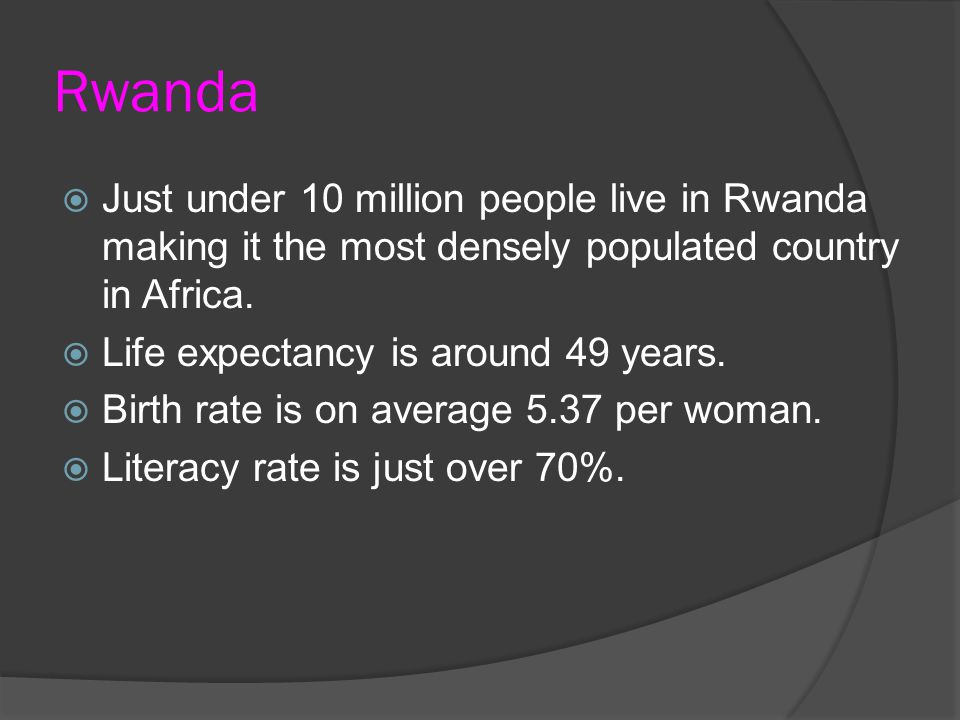 Rwanda  Just under 10 million people live in Rwanda making it the most densely populated country in Africa.