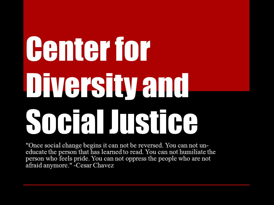 Center for Diversity and Social Justice Once social change begins it can not be reversed.