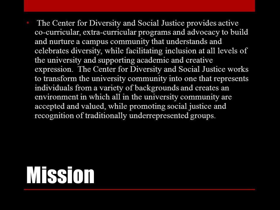 Vision The Center for Diversity and Social Justice is committed to academic excellence, inclusivity, diversity and social justice, which serves to create and sustain an exemplary campus climate.