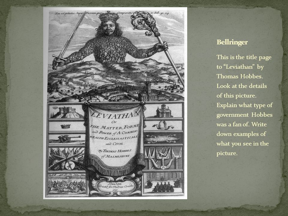This is the title page to Leviathan by Thomas Hobbes.