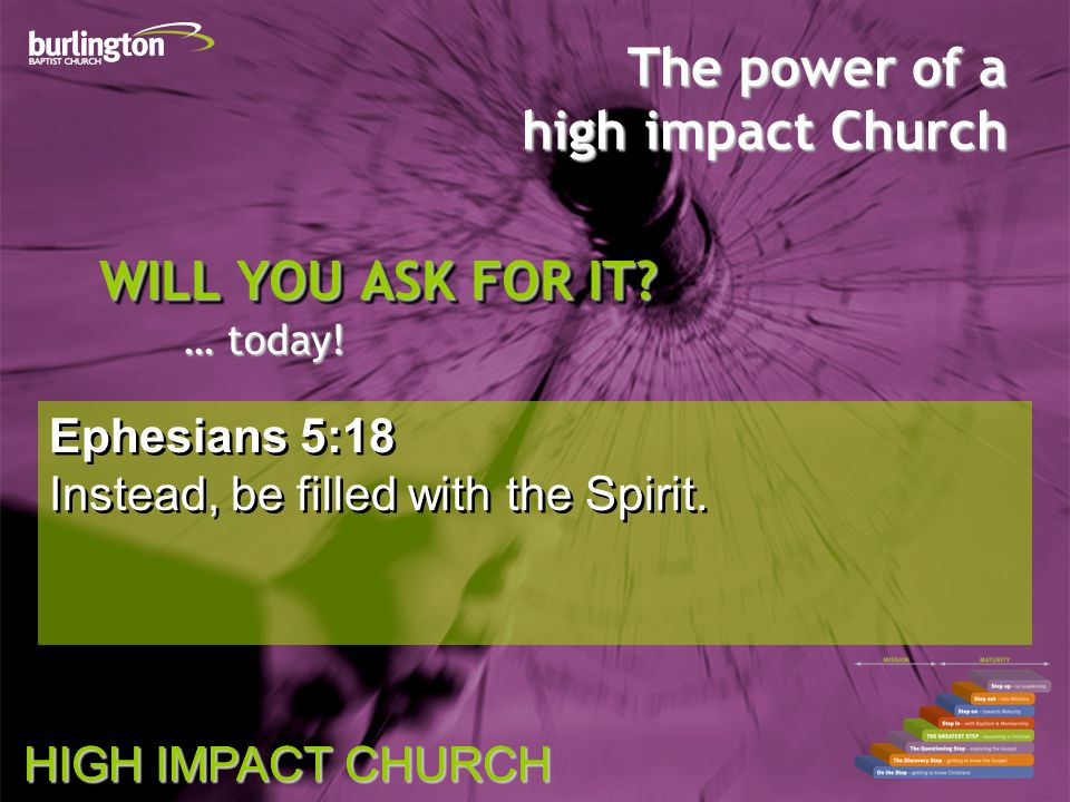 HIGH IMPACT CHURCH The power of a high impact Church WILL YOU ASK FOR IT.