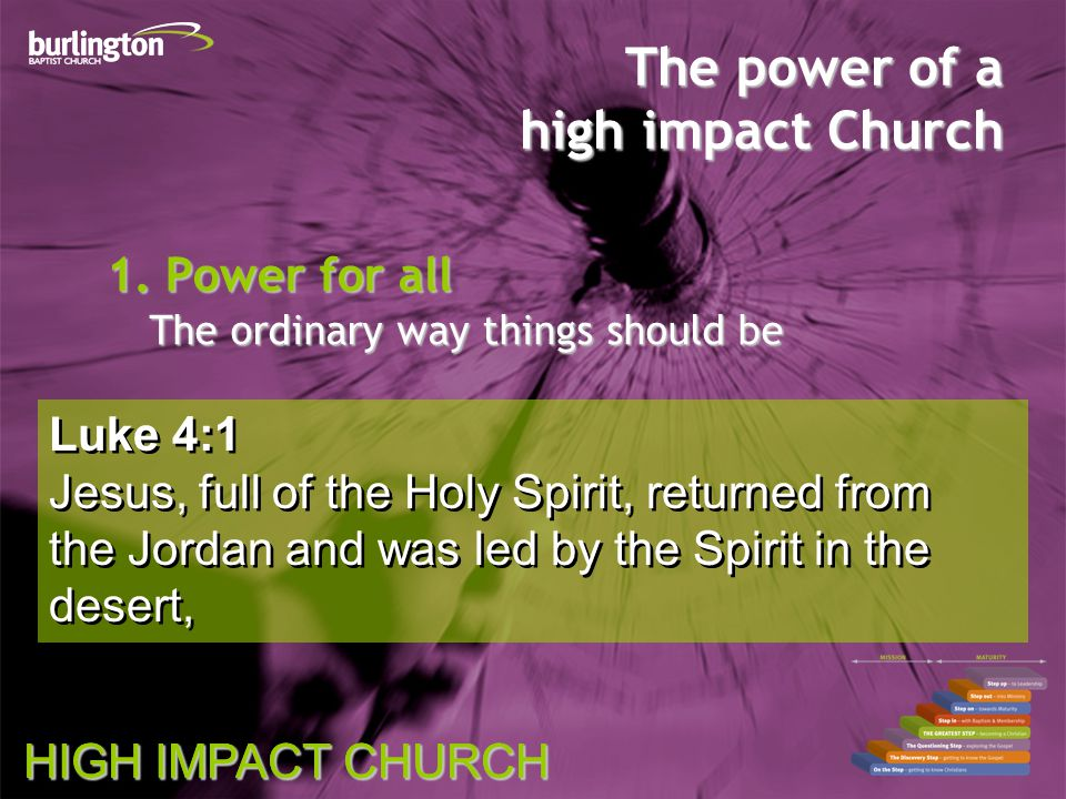 HIGH IMPACT CHURCH Luke 4:1 Jesus, full of the Holy Spirit, returned from the Jordan and was led by the Spirit in the desert, Luke 4:1 Jesus, full of the Holy Spirit, returned from the Jordan and was led by the Spirit in the desert, The power of a high impact Church 1.