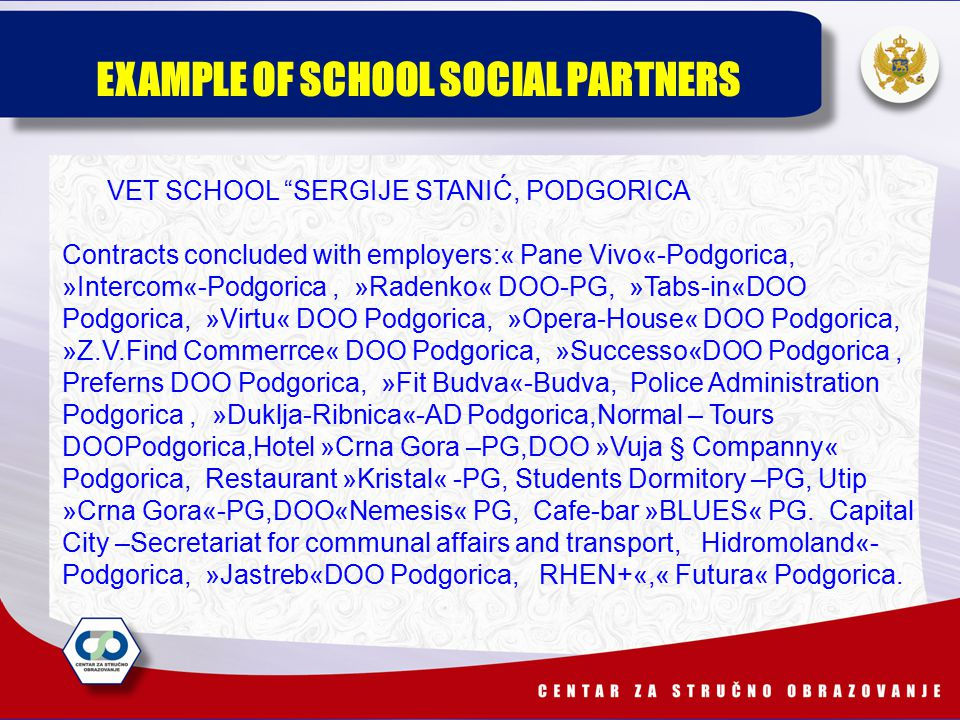 VET SCHOOL SERGIJE STANIĆ, PODGORICA Contracts concluded with employers:« Pane Vivo«-Podgorica, »Intercom«-Podgorica, »Radenko« DOO-PG, »Tabs-in«DOO Podgorica, »Virtu« DOO Podgorica, »Opera-House« DOO Podgorica, »Z.V.Find Commerrce« DOO Podgorica, »Successo«DOO Podgorica, Preferns DOO Podgorica, »Fit Budva«-Budva, Police Administration Podgorica, »Duklja-Ribnica«-AD Podgorica,Normal – Tours DOOPodgorica,Hotel »Crna Gora –PG,DOO »Vuja § Companny« Podgorica, Restaurant »Kristal« -PG, Students Dormitory –PG, Utip »Crna Gora«-PG,DOO«Nemesis« PG, Cafe-bar »BLUES« PG.