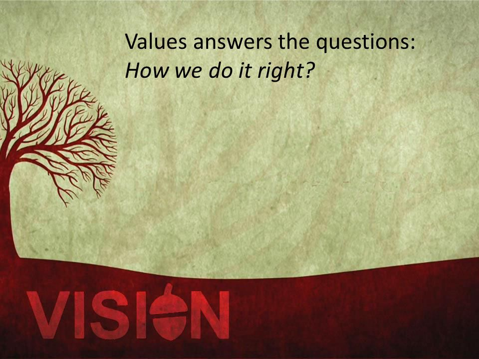 Values answers the questions: How we do it right