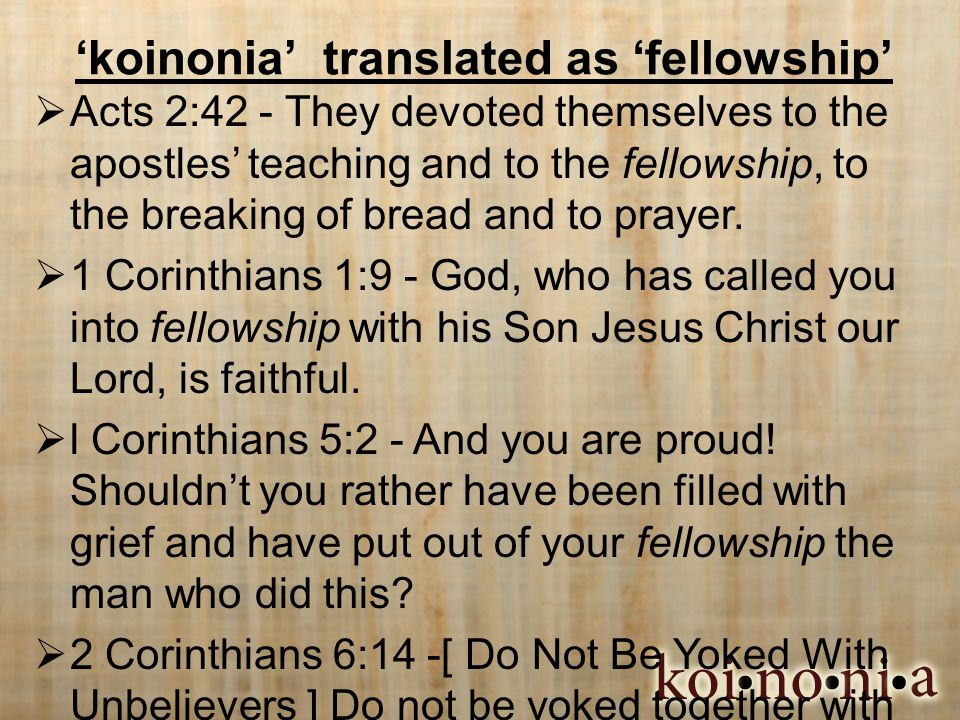 'koinonia' translated as 'fellowship'  Acts 2:42 - They devoted themselves to the apostles' teaching and to the fellowship, to the breaking of bread and to prayer.