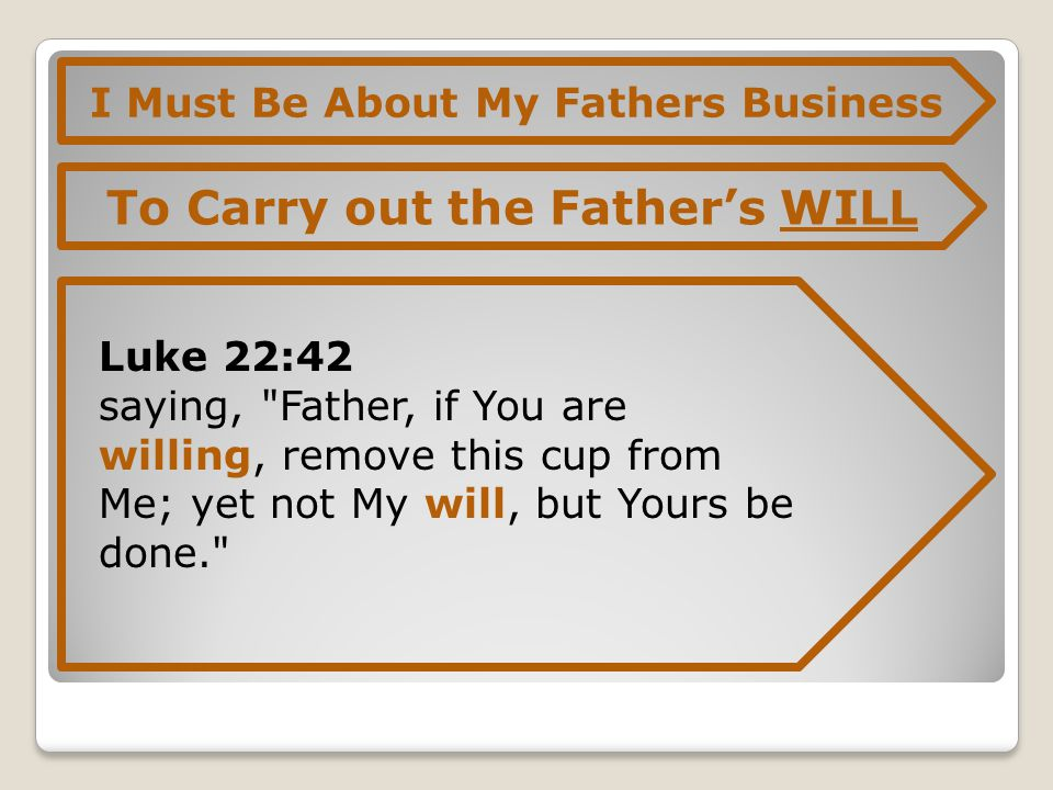 I Must Be About My Fathers Business To Carry out the Father's WILL Luke 22:42 saying, Father, if You are willing, remove this cup from Me; yet not My will, but Yours be done.