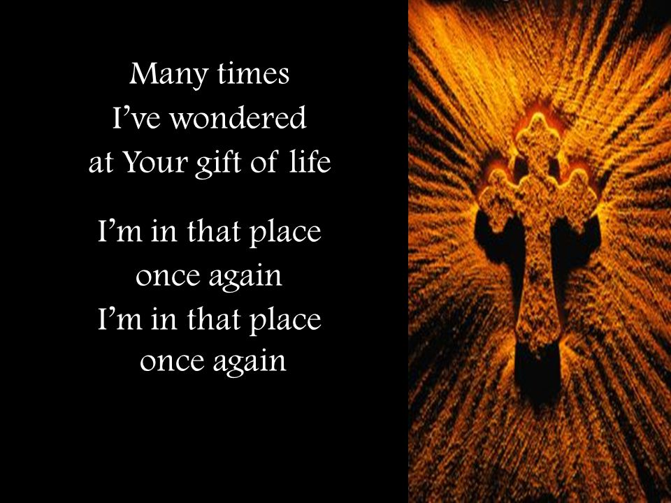 Many times I've wondered at Your gift of life I'm in that place once again I'm in that place once again