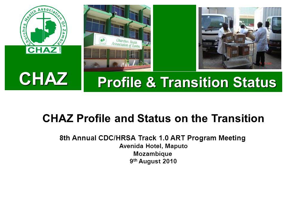 CHAZ Profile & Transition Status Profile & Transition Status CHAZ Profile and Status on the Transition 8th Annual CDC/HRSA Track 1.0 ART Program Meeting Avenida Hotel, Maputo Mozambique 9 th August 2010