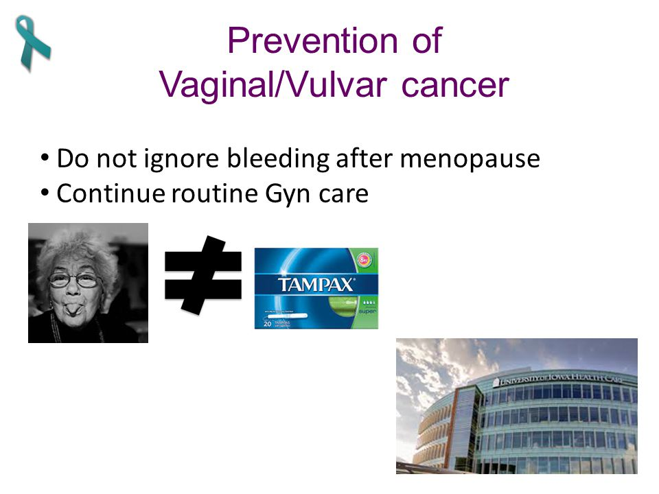 Prevention of Vaginal/Vulvar cancer Do not ignore bleeding after menopause Continue routine Gyn care