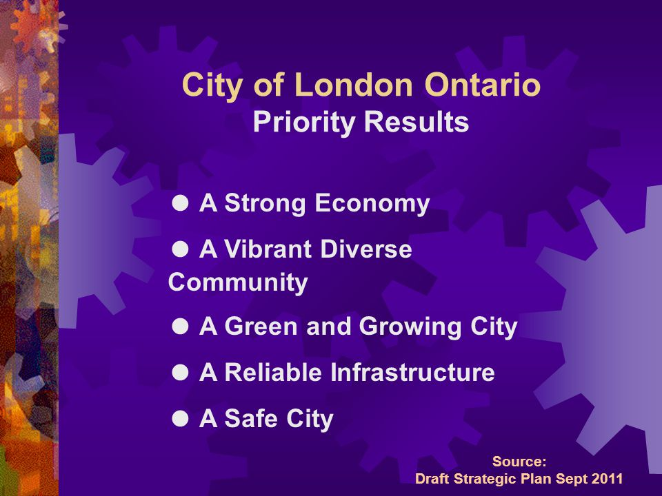 City of London Ontario Priority Results ● A Strong Economy ● A Vibrant Diverse Community ● A Green and Growing City ● A Reliable Infrastructure ● A Safe City Source: Draft Strategic Plan Sept 2011