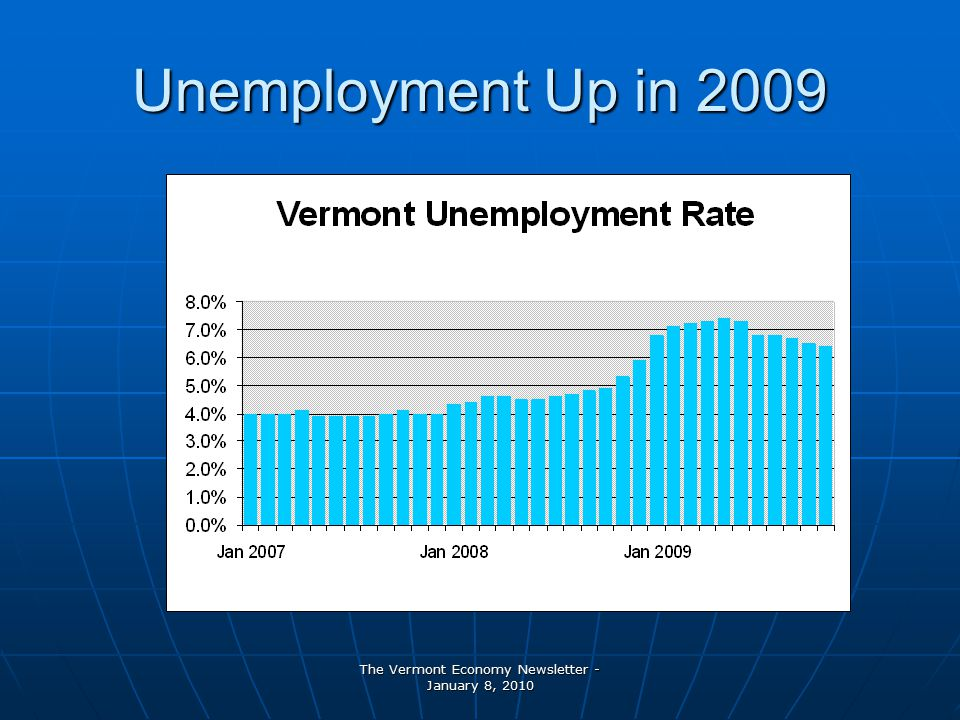 The Vermont Economy Newsletter - January 8, 2010 Unemployment Up in 2009