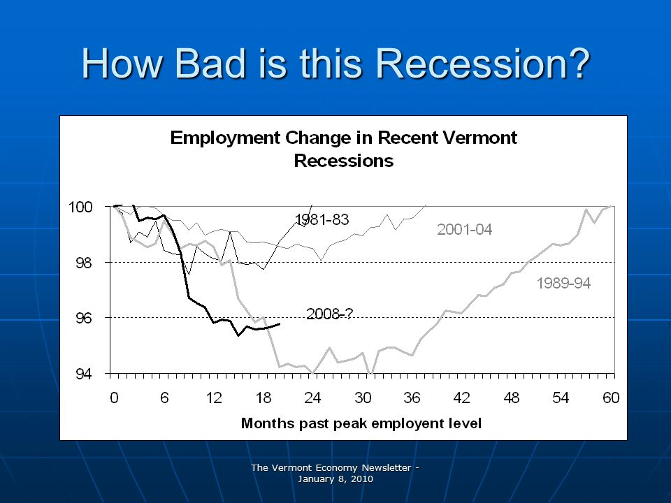 The Vermont Economy Newsletter - January 8, 2010 How Bad is this Recession