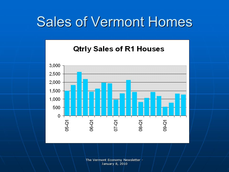 The Vermont Economy Newsletter - January 8, 2010 Sales of Vermont Homes