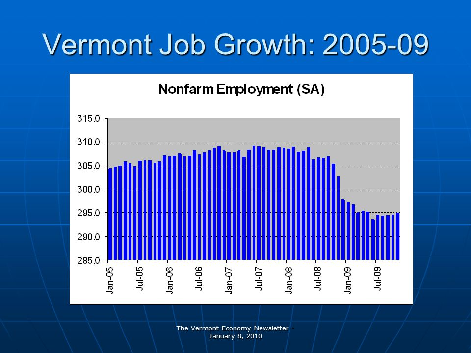 The Vermont Economy Newsletter - January 8, 2010 Vermont Job Growth:
