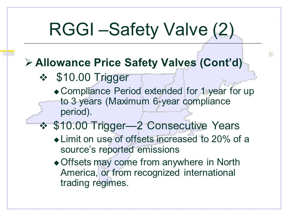 RGGI –Safety Valve (2)  Allowance Price Safety Valves (Cont'd)  $10.00 Trigger  Compliance Period extended for 1 year for up to 3 years (Maximum 6-year compliance period).