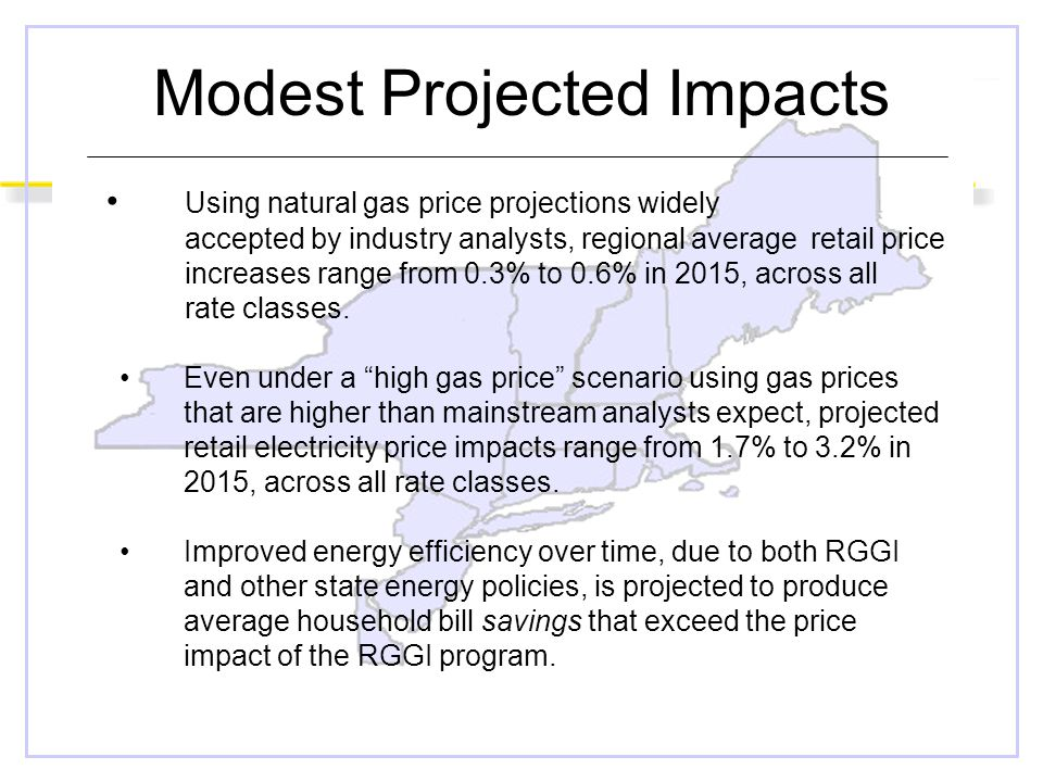 Modest Projected Impacts Using natural gas price projections widely accepted by industry analysts, regional average retail price increases range from 0.3% to 0.6% in 2015, across all rate classes.