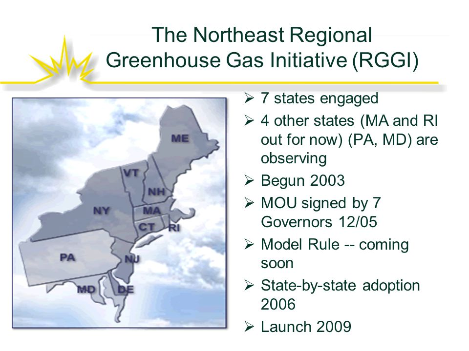 The Northeast Regional Greenhouse Gas Initiative (RGGI)  7 states engaged  4 other states (MA and RI out for now) (PA, MD) are observing  Begun 2003  MOU signed by 7 Governors 12/05  Model Rule -- coming soon  State-by-state adoption 2006  Launch 2009