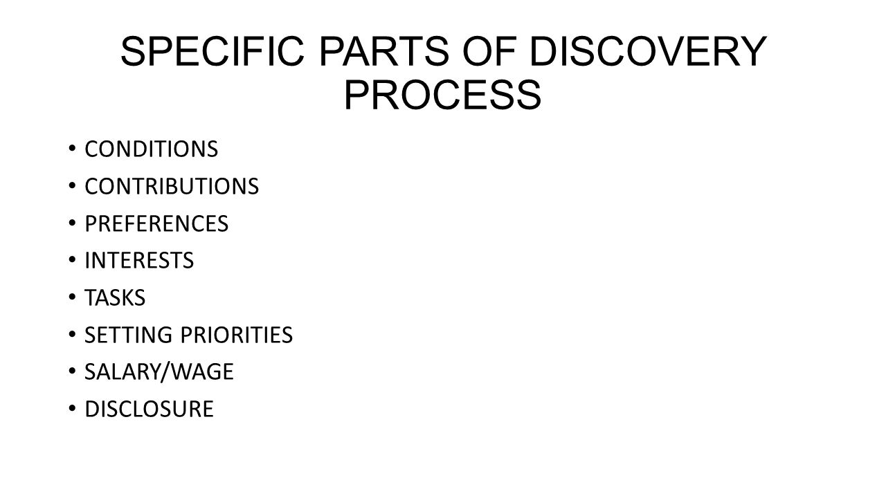 SPECIFIC PARTS OF DISCOVERY PROCESS CONDITIONS CONTRIBUTIONS PREFERENCES INTERESTS TASKS SETTING PRIORITIES SALARY/WAGE DISCLOSURE