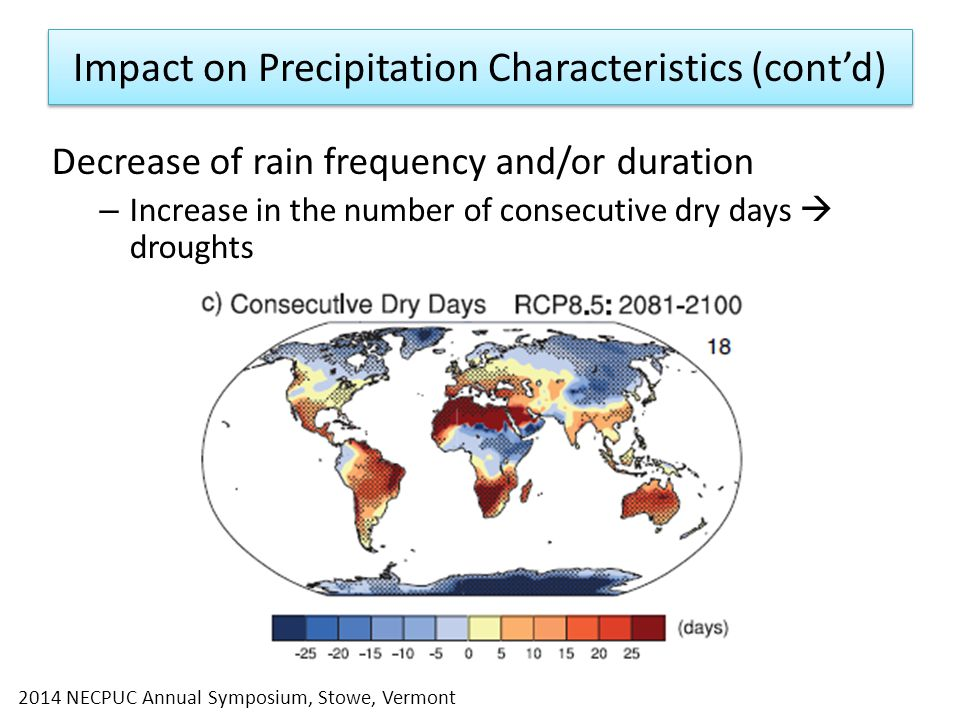 Impact on Precipitation Characteristics (cont'd) Decrease of rain frequency and/or duration – Increase in the number of consecutive dry days  droughts 2014 NECPUC Annual Symposium, Stowe, Vermont