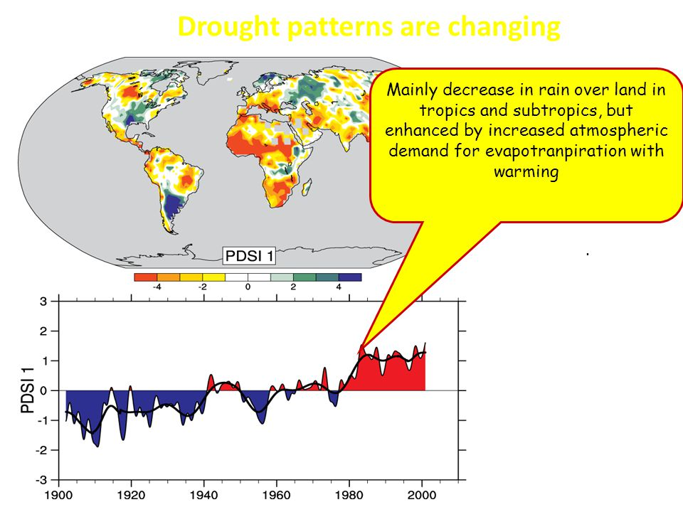 The most important spatial pattern (top) of the monthly Palmer Drought Severity Index (PDSI) for 1900 to 2002.