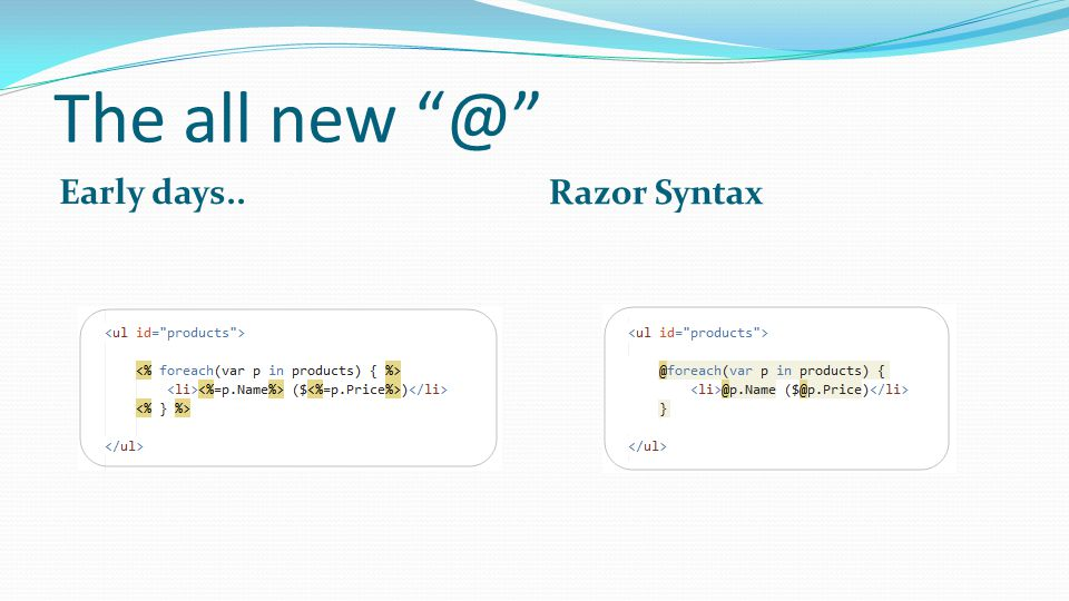 The all Early days.. Razor Syntax