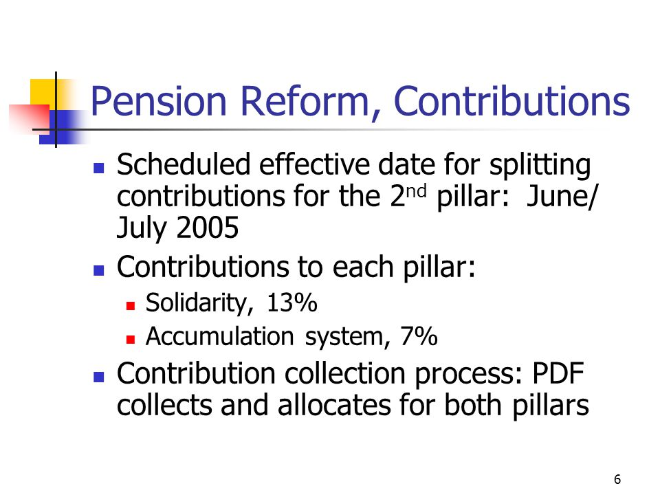 6 Pension Reform, Contributions Scheduled effective date for splitting contributions for the 2 nd pillar: June/ July 2005 Contributions to each pillar: Solidarity, 13% Accumulation system, 7% Contribution collection process: PDF collects and allocates for both pillars