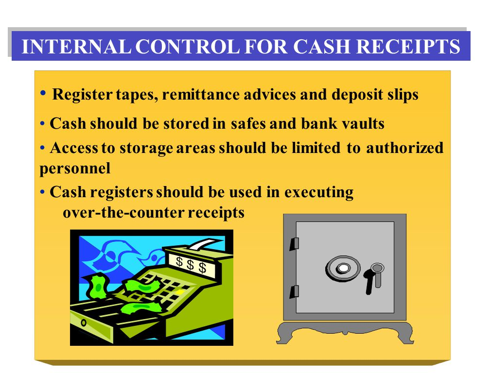 Register tapes, remittance advices and deposit slips Cash should be stored in safes and bank vaults Access to storage areas should be limited to authorized personnel Cash registers should be used in executing over-the-counter receipts INTERNAL CONTROL FOR CASH RECEIPTS