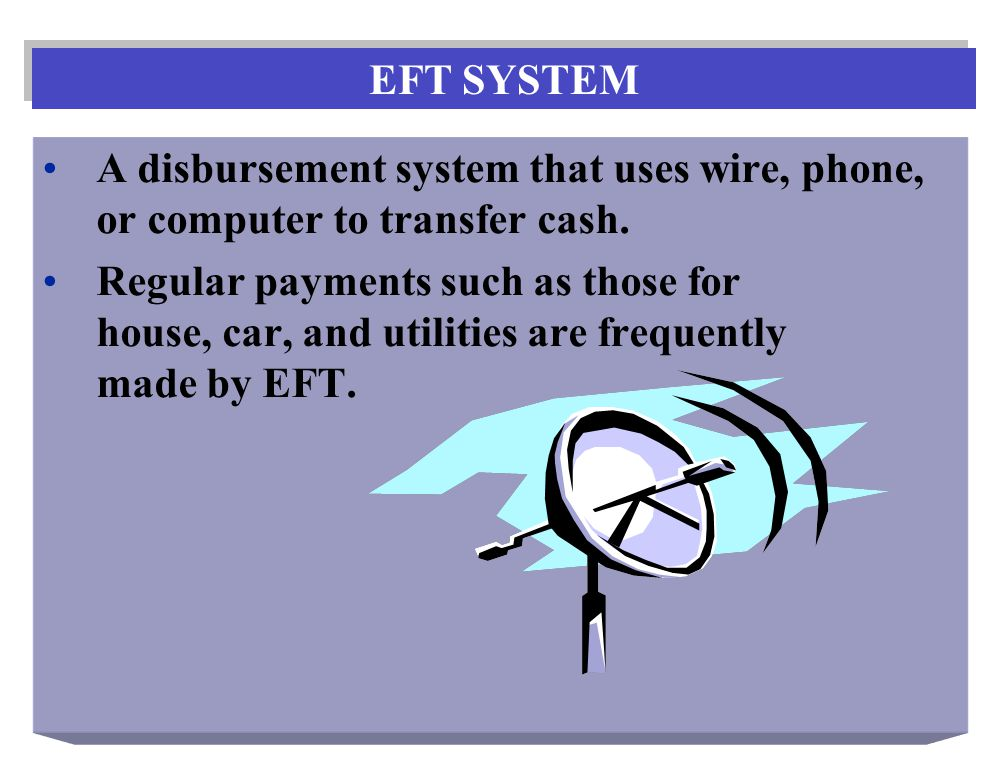 A disbursement system that uses wire, phone, or computer to transfer cash.