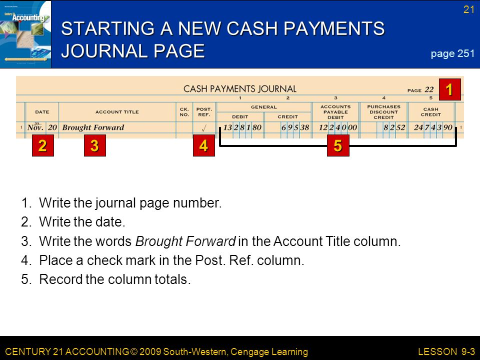 CENTURY 21 ACCOUNTING © 2009 South-Western, Cengage Learning 21 LESSON 9-3 STARTING A NEW CASH PAYMENTS JOURNAL PAGE page Write the journal page number.