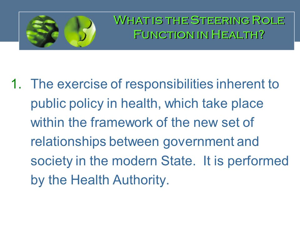 1.The exercise of responsibilities inherent to public policy in health, which take place within the framework of the new set of relationships between government and society in the modern State.