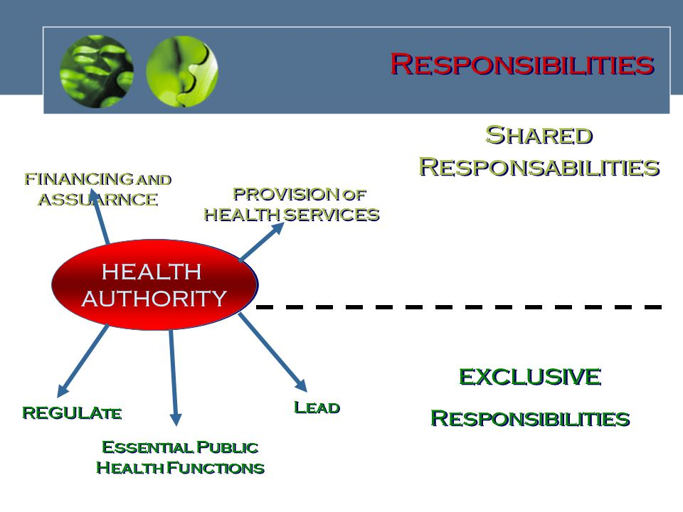 HEALTH AUTHORITY HEALTH AUTHORITY FINANCING and ASSUARNCE PROVISION of HEALTH SERVICES REGULAte Lead EXCLUSIVE Responsibilities EXCLUSIVE Responsibilities Shared Responsabilities Responsibilities Essential Public Health Functions