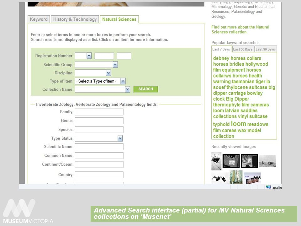 Advanced Search interface (partial) for MV Natural Sciences collections on 'Musenet'