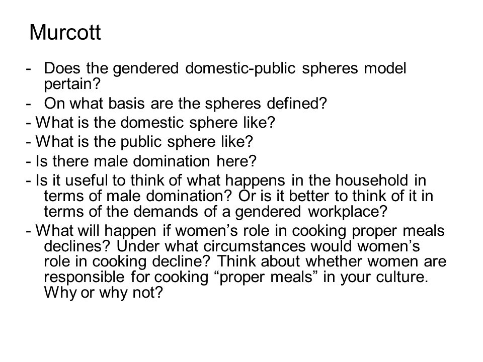 Murcott -Does the gendered domestic-public spheres model pertain.
