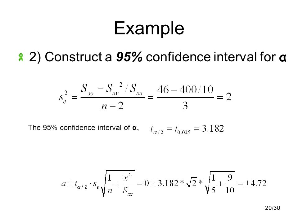 20/30 Example 2) Construct a 95% confidence interval for α The 95% confidence interval of α,