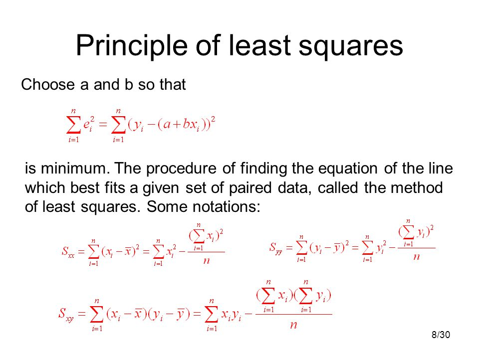 8/30 Principle of least squares Choose a and b so that is minimum.