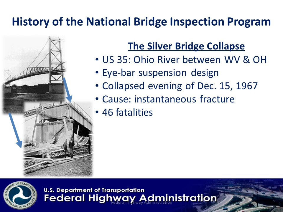 The Silver Bridge Collapse US 35: Ohio River between WV & OH Eye-bar suspension design Collapsed evening of Dec.
