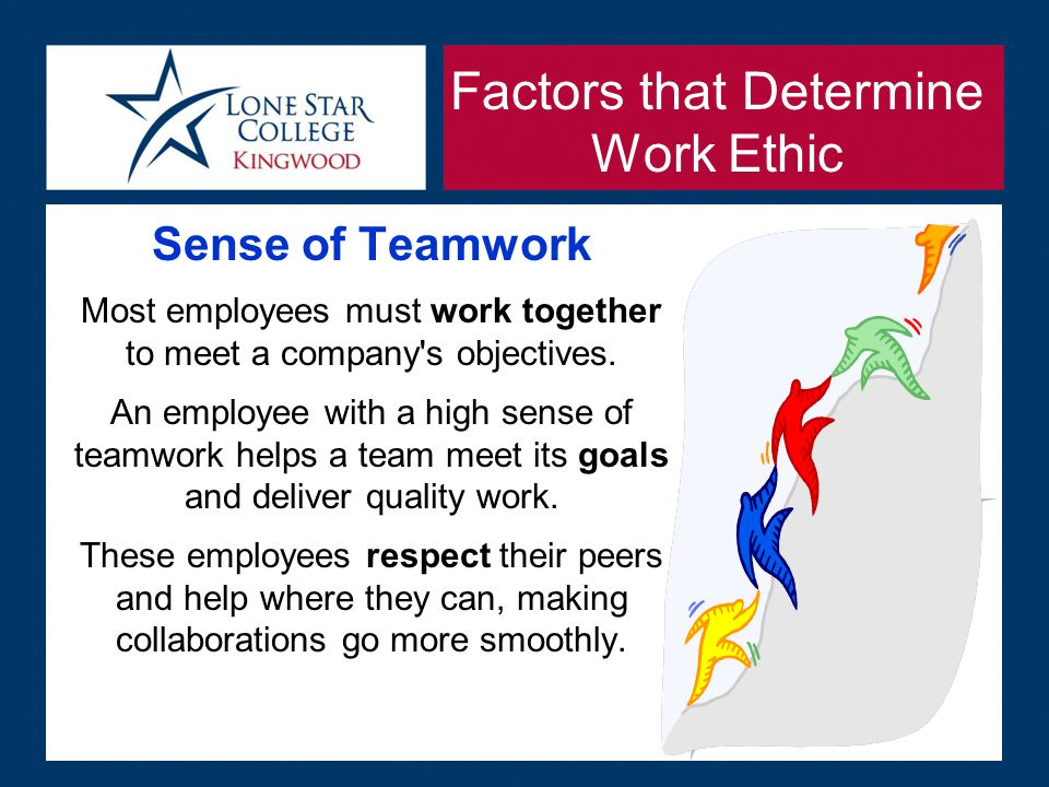 Work ethics pertain to a person's attitudes, feelings and beliefs ... Factors that Determine Work Ethic Sense of Teamwork Most employees must work together to meet a