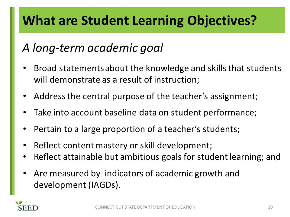 What are Student Learning Objectives.