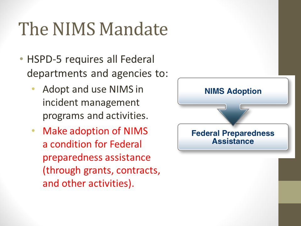 The NIMS Mandate HSPD-5 requires all Federal departments and agencies to: Adopt and use NIMS in incident management programs and activities.