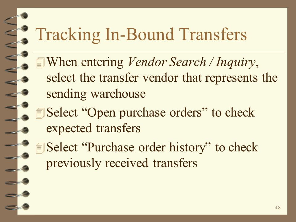 47 Tracking In-Bound Transfers The Inventory Demand by Item task shows all transfer items that have been invoiced but for which transfer P/O's have not been fully received These items are being transferred from warehouse 01 to warehouse 02 The sales order number from which a transfer item was extracted can be seen on the line item detail screen To view line item details use 2=Work/demand To view line item details use 2=Work/demand