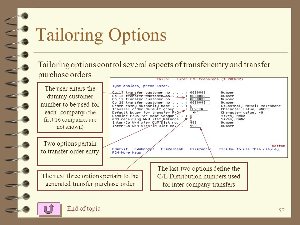 56 Tailoring Options 4 Using the IOTAILOR XFROR command, the user can tailor the Inter-Warehouse Transfer enhancement 4 The tailoring options control the dummy customer numbers to be used for each company 4 The user can set other transfer entry and purchase order options