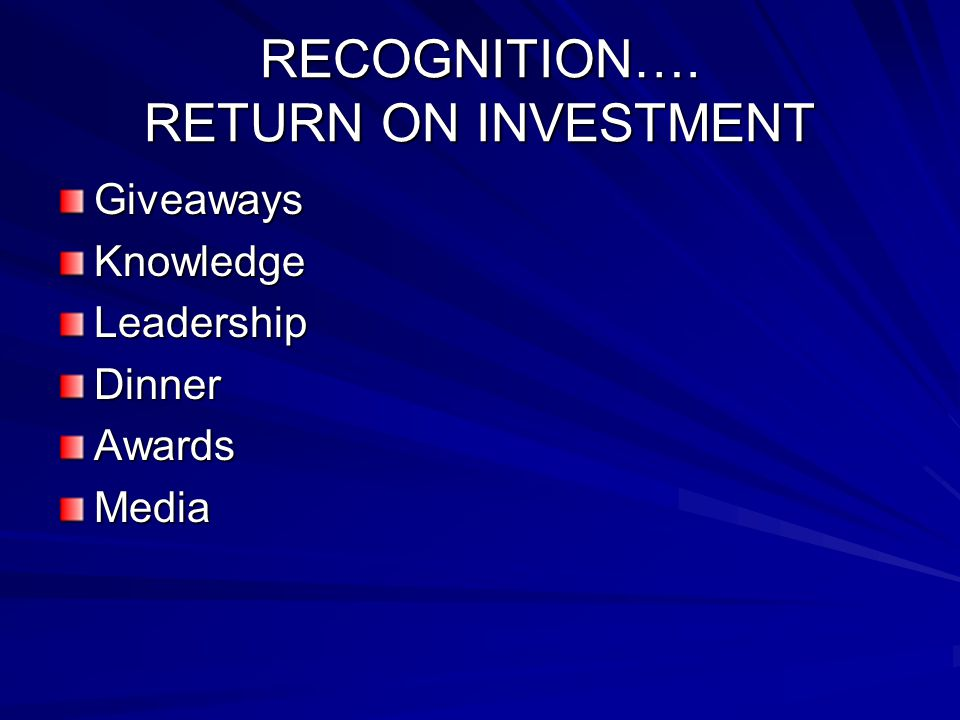 RECOGNITION…. RETURN ON INVESTMENT GiveawaysKnowledgeLeadershipDinnerAwardsMedia